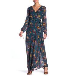 Band Of Gypsies - Jacey Wrap Printed Maxi Dress - Lyst