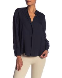 dbc24659a08d75 Lyst - Vince Band Collar Long Sleeve Silk Blend Blouse in Blue