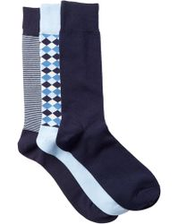 Cole Haan - Diamonds & Stripes Crew Socks - Pack Of 3 - Lyst