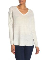 Kinross Cashmere - Mixed Media V-neck Linen & Silk Pullover - Lyst