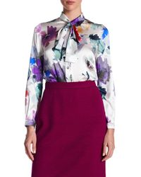 St. John - Primrose Floral Print Silk Blend Blouse - Lyst