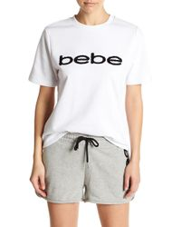 Bebe - Short Sleeve Logo Sweatshirt - Lyst