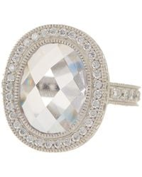Freida Rothman - Sterling Silver Radiance Pave Cz Edge Cocktail Ring - Size 6 - Lyst