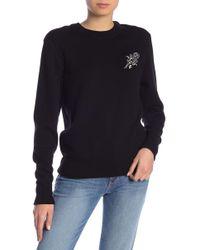 FRAME - Embroidered Crew Neck Sweatshirt - Lyst