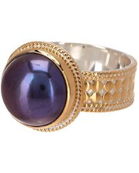 Anna Beck - 18k Gold Plated Sterling Silver 14mm Simulated Blue Pearl Ring - Lyst