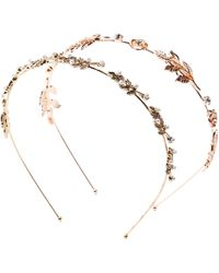 Berry - Gold-tone Leaf & Crystal Detail Headband - Set Of 2 - Lyst