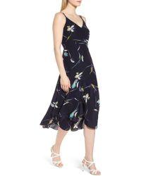 LEWIT - Double Strap Floral Silk Dress - Lyst