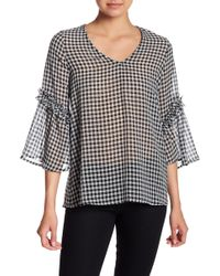 Pleione - Gingham V-neck Crinkled Blouse - Lyst