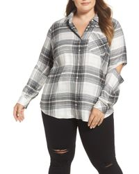 Two By Vince Camuto - Cold Elbow Linearscape Plaid Shirt (plus Size) - Lyst