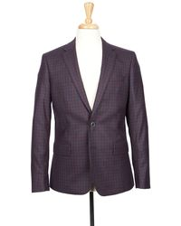 Boga - Navy & Crimson Red Check Notch Lapel Modern Fit Wool Blazer - Lyst