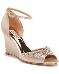 Badgley Mischka - Malorie Embellished Wedge Sandal - Lyst