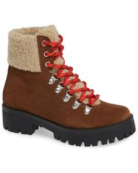 723ce838859 Steve Madden Boom Hiker Boot With Genuine Calf Hair (women) in Brown ...
