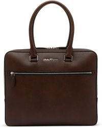 Ferragamo - Pebbled Leather Briefcase - Lyst
