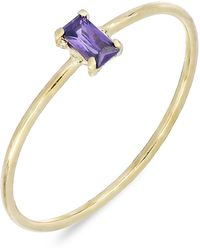 Bony Levy - 18k Yellow Gold Baguette-cut Amethyst Stackable Ring - Lyst