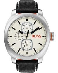 BOSS - Men's Cape Town Leather Watch, 46mm - Lyst