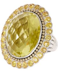 Lagos - Sterling Silver & 18k Gold Lemon Quartz & Orange Sapphire Statement Ring - Size 7 - Lyst