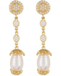 Freida Rothman - Audrey 15mm Pearl Linear Drop Earrings - Lyst