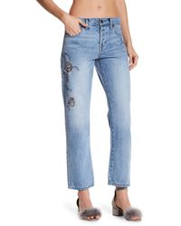 Current/Elliott - Crossover Embroidered Jeans - Lyst