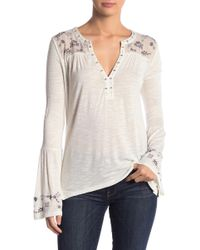 Lucky Brand - Embroidered Yoke Blouse - Lyst