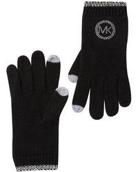 Michael Kors Studded Knit Tech Gloves - Black