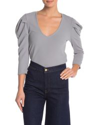 FAVLUX - V-neck Puff Sleeve Top - Lyst