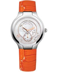 Philip Stein - Women's Classic Chronograph Mother Of Pearl Croc Embossed Leather Strap Watch - Lyst