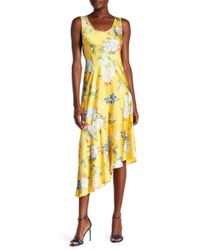 Donna Morgan - Sleeveless Printed Charmeuse Asymmetrical Hem Dress - Lyst