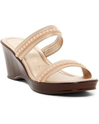 Italian Shoemakers | Imitation Pearl Wedge Sandal | Lyst