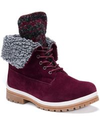 Muk Luks - Megan Faux Shearling Lined & Trim Lace-up Boot - Lyst
