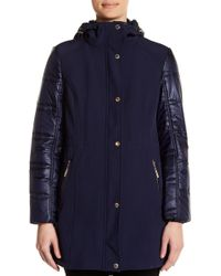 Ellen Tracy - Mixed Media Soft Shell Coat - Lyst