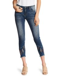 Miss Me - Feather Embroidered Cropped Skinny Jeans - Lyst
