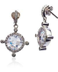 Freida Rothman - Sterling Silver Tiara Cz Circle Drop Earrings - Lyst