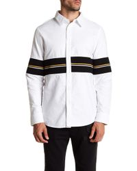 Daniel Won - Carter Ribbed Panel Long Sleeve Regular Fit Shirt - Lyst