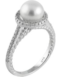 Splendid - Fancy 7-7.5mm Freshwater Pearl & Halo Set Cz Accent Ring - Lyst