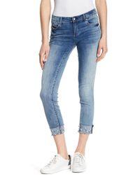 Tractr | Faux Pearl Cuffed Skinny Jeans | Lyst