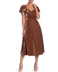 Line & Dot - Larue Ruffle Velvet Dress - Lyst