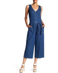 Two By Vince Camuto - Belted Stripe Denim Culotte Jumpsuit - Lyst