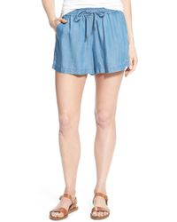 Two By Vince Camuto | Chambray Drawstring Waist Shorts | Lyst
