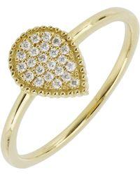Bony Levy - 18k Yellow Gold Pave Diamond Teardrop Ring - 0.09 Ctw - Lyst