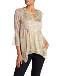 T Tahari - Deep V-neck Gold Speckled Bell Blouse - Lyst