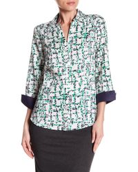 Foxcroft - Taylor Abstract Plaid Print Shirt - Lyst