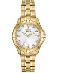 Citizen - Women's Eco-drive Gold-tone Stainless Bracelet Watch With Diamonds - 0.0053 Ctw - Lyst