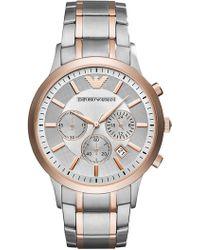 Emporio Armani - Men's Chronograph Renato Two-tone Stainless Steel Bracelet Watch 43mm - Lyst