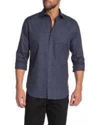 Bugatchi - Checkered Long Sleeve Shaped Fit Shirt - Lyst