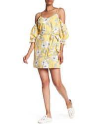 Lush - Puff Sleeve Cold Shoulder Dress - Lyst