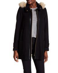 Trina Turk - Allyson Genuine Coyote Fur Trimmed Hooded A-line Coat - Lyst