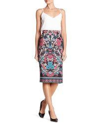 Eci - Patterned Scuba Midi Skirt - Lyst