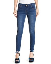 Romeo and Juliet Couture - Beaded Trim Skinny Jeans - Lyst