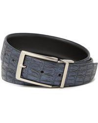 English Laundry Croc Embossed Reversible Leather Belt - Black