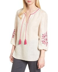 NIC+ZOE - Flora Embroidered Linen Top - Lyst
